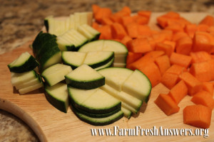 chopped vegetables, minestrone soup